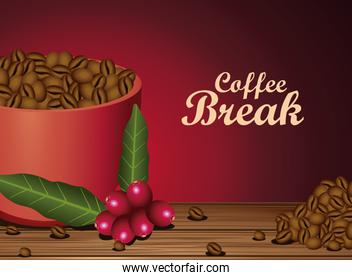 coffee break poster with cup and seeds nature