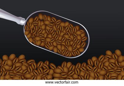 coffee break poster with spoon and grains