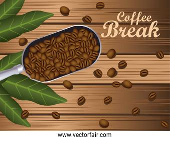 coffee break poster with spoon and grains in wooden background