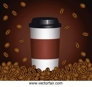coffee break poster with plastic pot and seeds in brown background