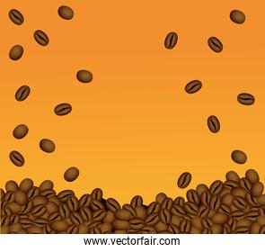 coffee break poster with seeds in orange background