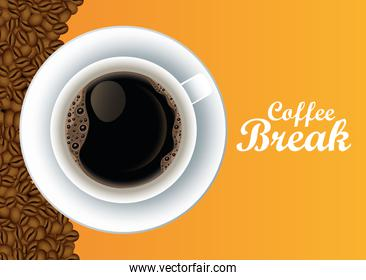 coffee break lettering poster with cup and seeds in yellow background