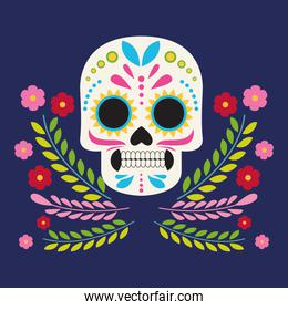 dia de los muertos celebration poster with skull head and flowers