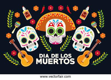 dia de los muertos celebration poster with skulls heads group and guitars