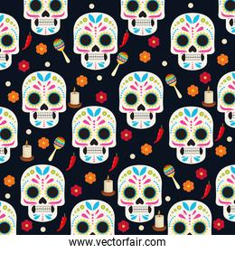 dia de los muertos celebration poster with skulls heads and flowers group pattern