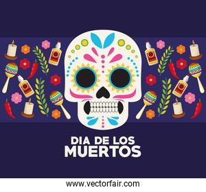 dia de los muertos celebration poster with skull head and set icons