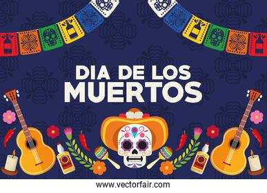 dia de los muertos celebration poster with skull head wearing hat and guitars