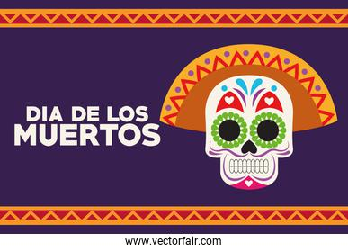 dia de los muertos celebration poster with skull head and lettering