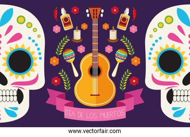 dia de los muertos celebration poster with skulls couple and set icons