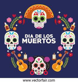 dia de los muertos celebration poster with skulls heads group and guitars around