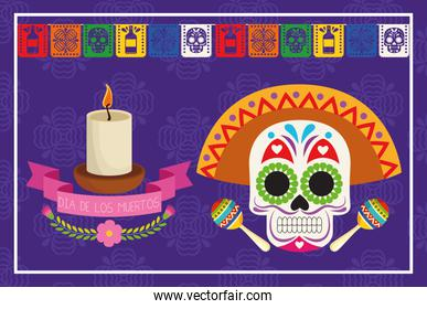 dia de los muertos celebration poster with skull head and candle