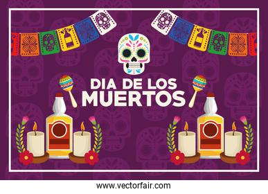 dia de los muertos celebration poster with skull and tequila bottles