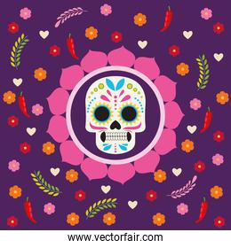dia de los muertos celebration poster with skull and flowers