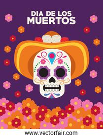 dia de los muertos celebration poster with skull head wearing hat and flowers