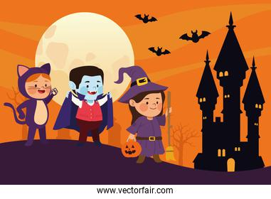 cute little kids dressed as a cat and witch with dracula in castle scene