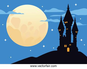 castle haunted with fullmoon halloween scene