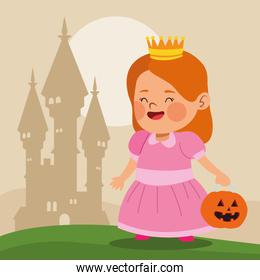 cute little girl dressed as a princess character and castle
