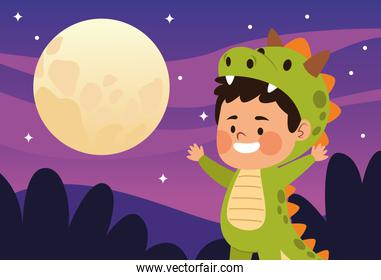 cute little boy dressed as a dinosaur character and moon night