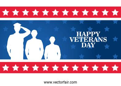 happy veterans day celebration with military officer and soldiers saluting in square frame
