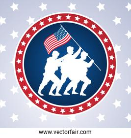 happy veterans day celebration with soldiers lifting usa flag in pole circular frame