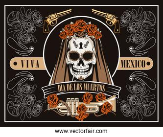 dia de los muertos celebration with woman skull and trumpet in brown background