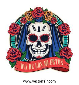 dia de los muertos celebration with woman skull in red ribbon frame