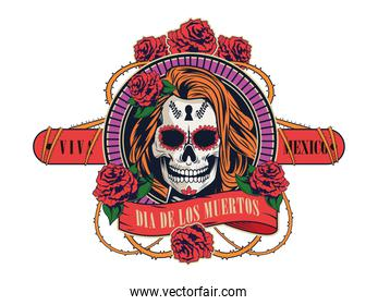 dia de los muertos celebration with woman skull and roses flowers