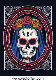 dia de los muertos celebration with woman skull and roses in square frame