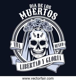 dia de los muertos celebration with woman skull and ribbon in black background
