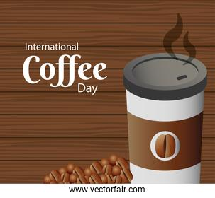international coffee day poster with plastic container and grains in wooden background