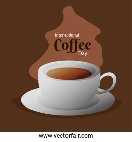 international coffee day poster with ceramic cup