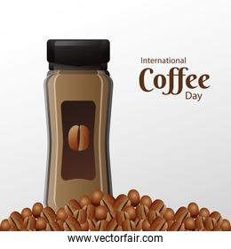 international coffee day poster with pot product and beans