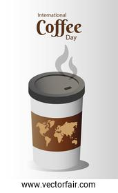 international coffee day poster with earth maps in plastic container