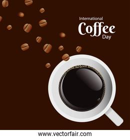 international coffee day poster with coffee cup and seeds air view scene