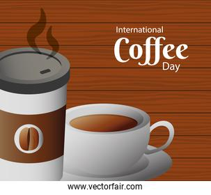 international coffee day poster with plastic container and cup