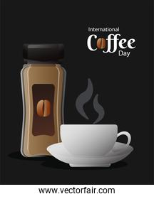 international coffee day poster with pot product and cup
