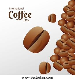 international coffee day poster with beans and lettering