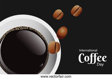 international coffee day poster with coffee cup and beans air view