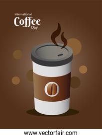 international coffee day poster with plastic container and lettering