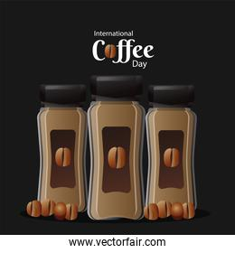 international coffee day poster with pots product and beans