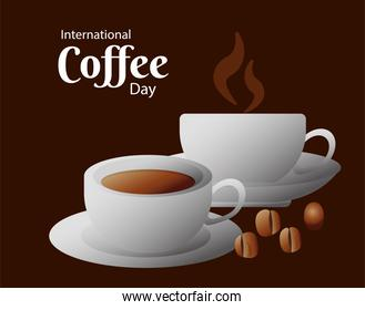 international coffee day poster with ceramic cups and beans