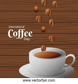 international coffee day poster with ceramic cup and beans in wooden background
