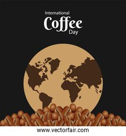 international coffee day poster with earth planet and beans