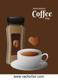 international coffee day poster with pot product and cup and heart