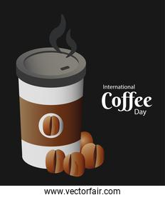international coffee day poster with plastic container and beans