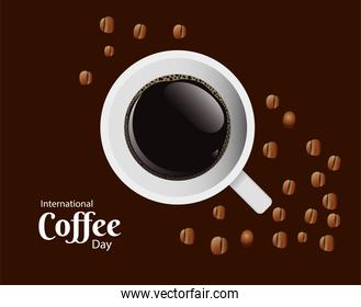 international coffee day poster with coffee cup and grains air view