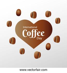 international coffee day poster with heart and beans