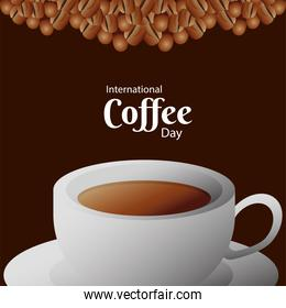 international coffee day poster with ceramic cup and beans in brown background