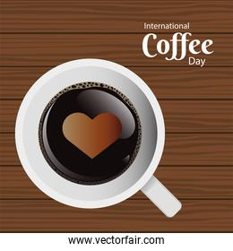 international coffee day poster with coffee cup and heart air view