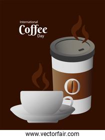international coffee day poster with cup and plastic container